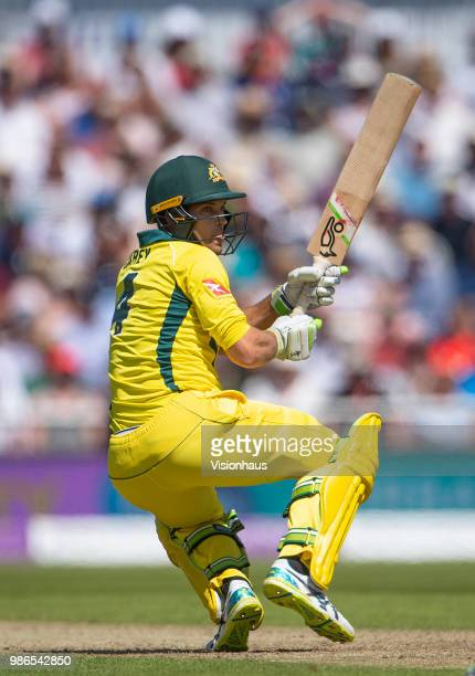Alex Carey of Australia batting during the 5th Royal London ODI between England and Australia at the Emirates Old Trafford Cricket Ground on June 24...