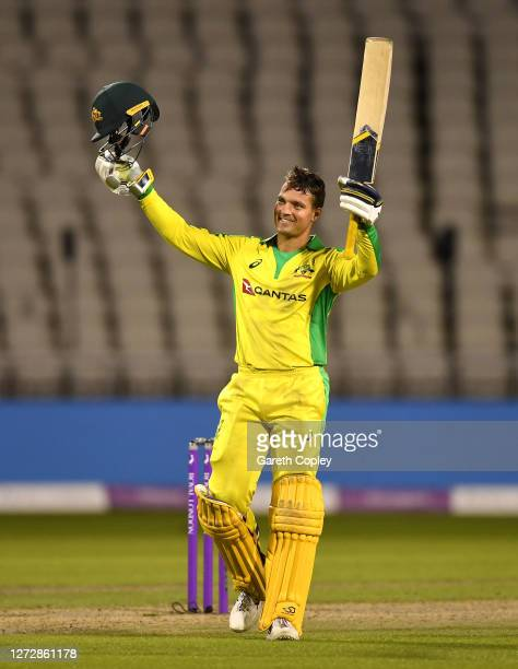 Alex Carey of Australia celebrates reaching his century during the 3rd Royal London One Day International Series match between England and Australia...