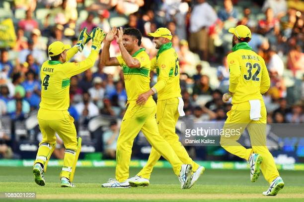 Alex Carey of Australia celebrates with Marcus Stoinis of Australia during game two of the One Day International series between Australia and India...