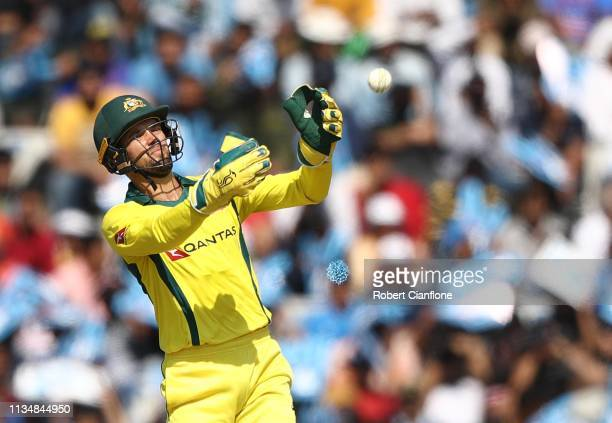 Alex Carey of Australia fields during game four of the One Day International series between India and Australia at Punjab Cricket Association Stadium...
