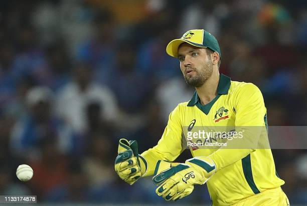 Alex Carey of Australia fields during game one of the One Day International series between India and Australia at Rajiv Gandhi International Cricket...