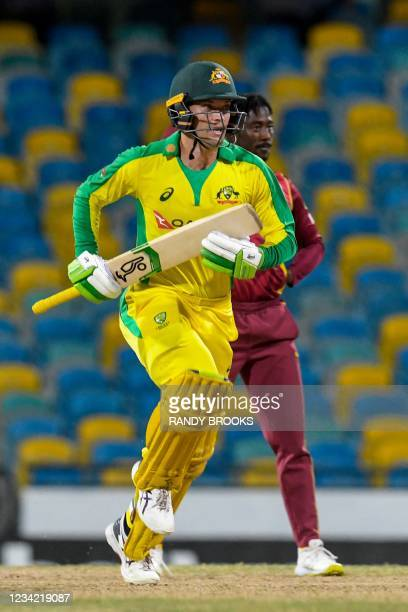 Alex Carey of Australia get runs off Hayden Walsh Jr. Of West Indies during the 3rd and final ODI between West Indies and Australia at Kensington...