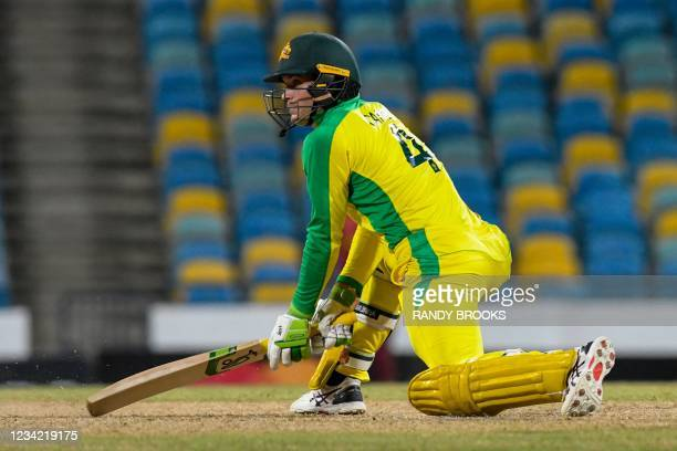 Alex Carey of Australia hits 4 during the 3rd and final ODI between West Indies and Australia at Kensington Oval, Bridgetown, Barbados, on July 26,...
