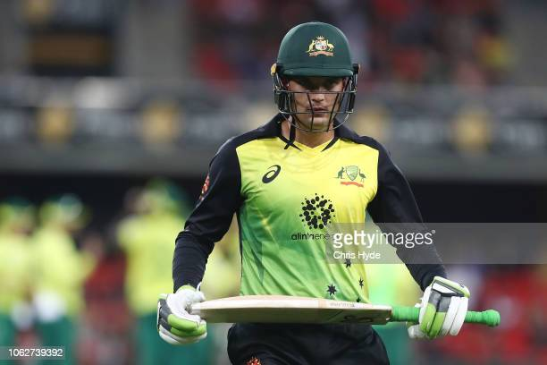 Alex Carey of Australia leaves the field after being dismissed during the International Twenty20 match between Australia and South Africa at Metricon...