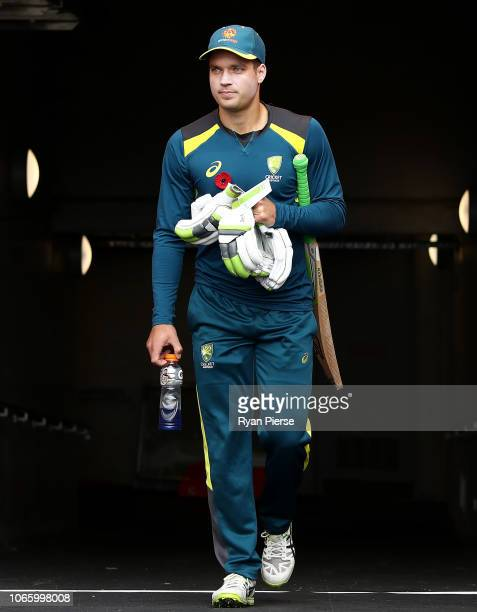 Alex Carey of Australia looks on during game three of the One Day International series between Australia and South Africa at Blundstone Arena on...