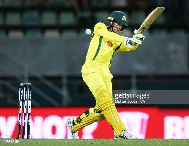 Alex Carey of Australia plays a stroke during game three of the One Day International series between Australia and South Africa at Blundstone Arena...