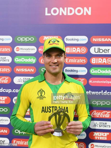 Alex Carey of Australia poses after being named man of the match during the Group Stage match of the ICC Cricket World Cup 2019 between New Zealand...