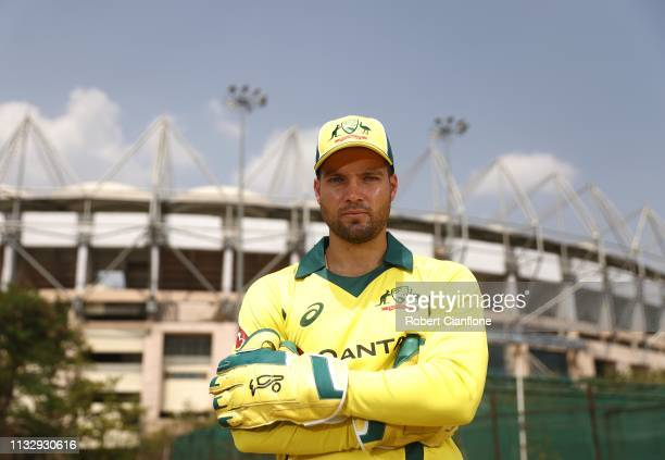 Alex Carey of Australia poses ahead of game one of the One Day International series between India and Australia at Rajiv Gandhi International Cricket...