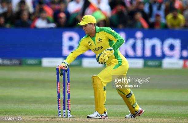 Alex Carey of Australia removes the bails as he runs out Mohammad Nabi of Afghanistan during the Group Stage match of the ICC Cricket World Cup 2019...
