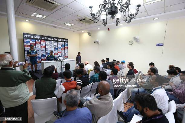 Alex Carey of Australia speaks to the media ahead of game five of the One Day International series between India and Australia at Feroz Shah Kotla...