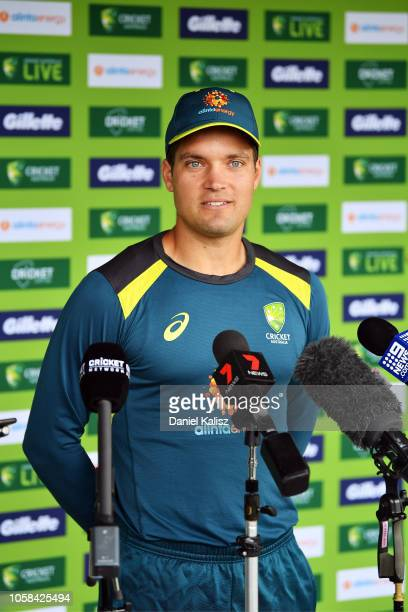 Alex Carey of Australia speaks to the media during a press conference held prior to an Australian ODI training session/press conference at Park 25 on...