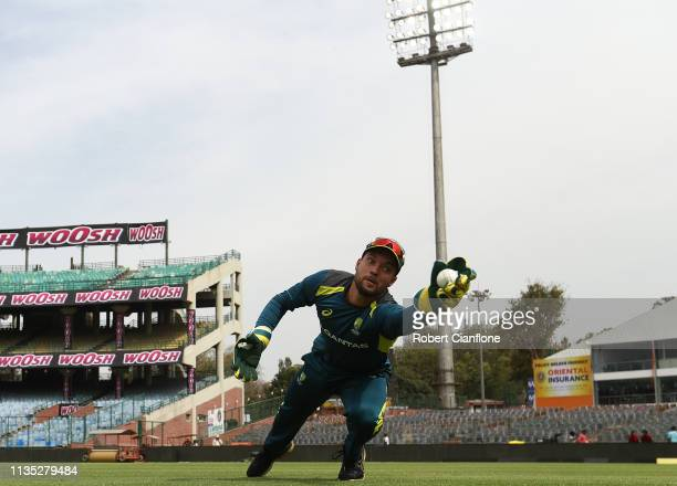 Alex Carey of Australia trains ahead of game five of the One Day International series between India and Australia at Feroz Shah Kotla Ground on March...