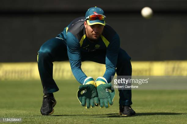 Alex Carey of Australia trains ahead of game three of the One Day International series between India and Australia at JSCA International Stadium...