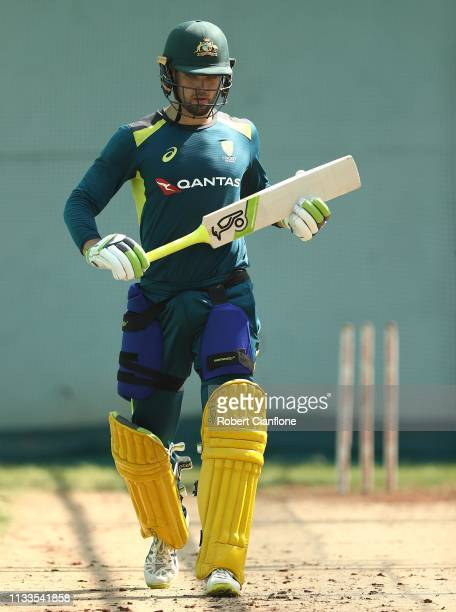 Alex Carey of Australia trains ahead of game two of the One Day International series between India and Australia at Vidarbha Cricket Association...