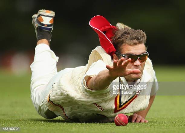 Alex Carey of South Australia attempts to take a catch in the outfield during the Futures League match between Tasmania and South Australia at...