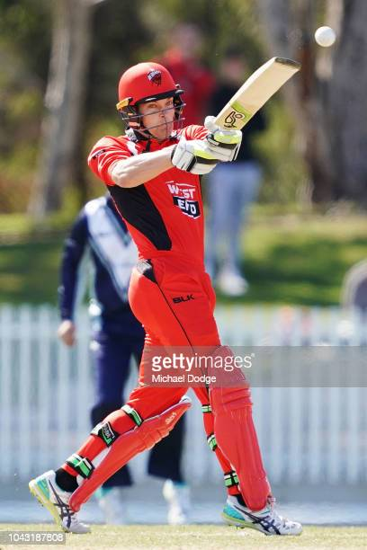 Alex Carey of South Australia bats during the JLT One Day Cup match between Victoria and South Australia at Junction Oval on September 30 2018 in...