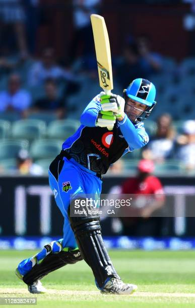 Alex Carey of the Adelaide Strikers bats during the Adelaide Strikers v Perth Scorchers Big Bash League Match at Adelaide Oval on February 09 2019 in...