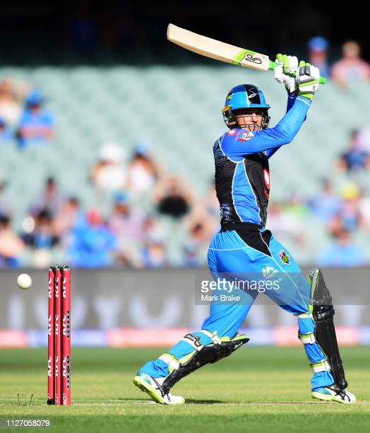 Alex Carey of the Adelaide Strikers bats during the Big Bash League match between the Adelaide Strikers and the Brisbane Heat at Adelaide Oval on...