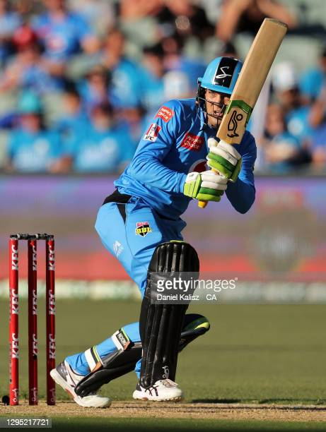 Alex Carey of the Adelaide Strikers bats during the Big Bash League match between the Adelaide Strikers and the Melbourne Renegades at Adelaide Oval,...