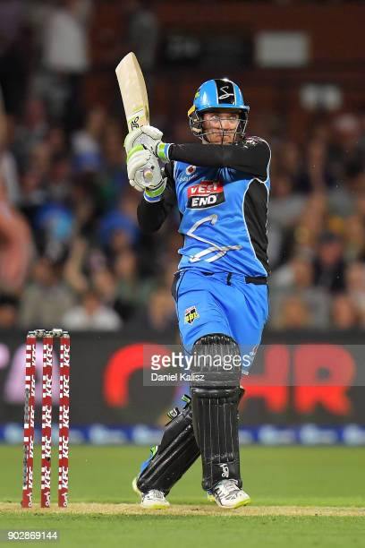 Alex Carey of the Adelaide Strikers bats during the Big Bash League match between the Adelaide Strikers and the Melbourne Stars at Adelaide Oval on...