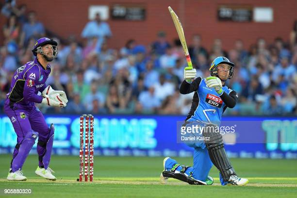 Alex Carey of the Adelaide Strikers bats during the Big Bash League match between the Adelaide Strikers and the Hobart Hurricanes at Adelaide Oval on...