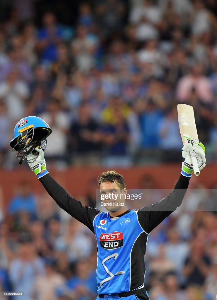 Alex Carey of the Adelaide Strikers celebrates after reaching his century during the Big Bash League match between the Adelaide Strikers and the Hobart Hurricanes at Adelaide Oval on January 17, 2018 in Adelaide, Australia.