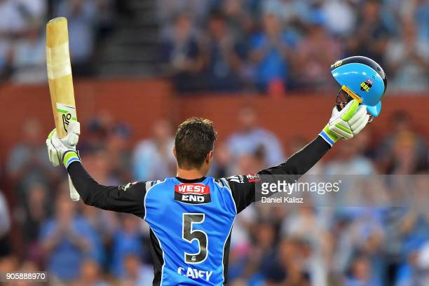 Alex Carey of the Adelaide Strikers celebrates after reaching his century during the Big Bash League match between the Adelaide Strikers and the...