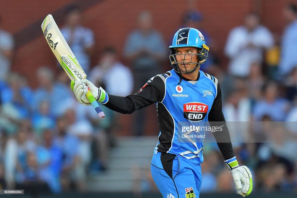 Alex Carey of the Adelaide Strikers celebrates after reachiung his half century during the Big Bash League match between the Adelaide Strikers and the Hobart Hurricanes at Adelaide Oval on January 17, 2018 in Adelaide, Australia.
