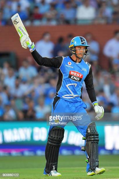Alex Carey of the Adelaide Strikers celebrates after reachiung his half century during the Big Bash League match between the Adelaide Strikers and...