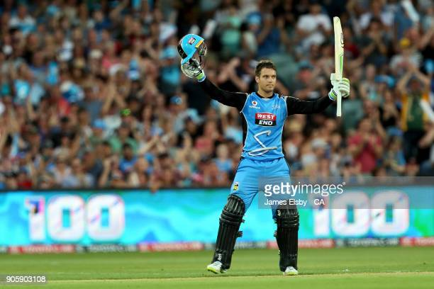 Alex Carey of the Adelaide Strikers celebrates his 100 during the Big Bash League match between the Adelaide Strikers and the Hobart Hurricanes at...