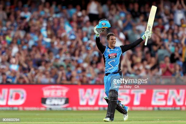 Alex Carey of the Adelaide Strikers celebrates his century during the Big Bash League match between the Adelaide Strikers and the Hobart Hurricanes...