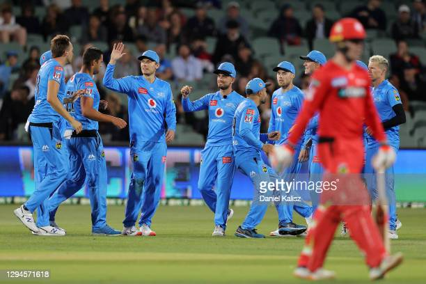 Alex Carey of the Adelaide Strikers celebrates with his team mates during the Big Bash League match between the Melbourne Renegades and the Adelaide...