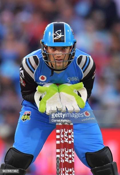 Alex Carey of the Adelaide Strikers keeps wicket during the Big Bash League match between the Adelaide Strikers and the Melbourne Stars at Adelaide...