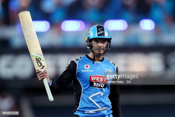 Alex Carey of the Adelaide Strikers loses his wicket during the Big Bash League match between the Adelaide Strikers and the Hobart Hurricanes at...