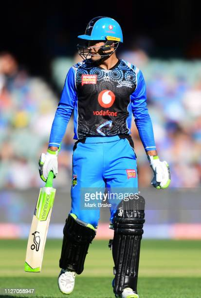 Alex Carey of the Adelaide Strikers out for 24 during the Big Bash League match between the Adelaide Strikers and the Brisbane Heat at Adelaide Oval...