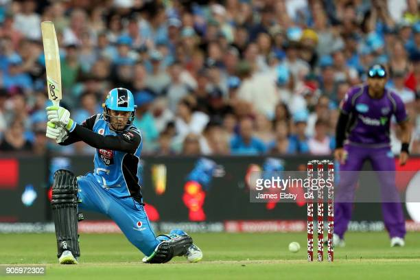 Alex Carey of the Adelaide Strikers plays a shot during the Big Bash League match between the Adelaide Strikers and the Hobart Hurricanes at Adelaide...