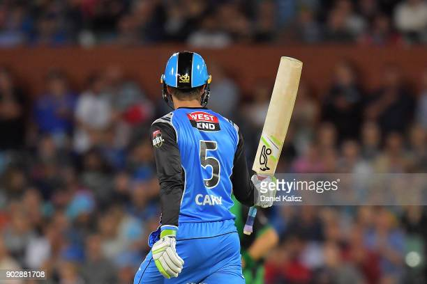 Alex Carey of the Adelaide Strikers reacts after reaching his half century during the Big Bash League match between the Adelaide Strikers and the...