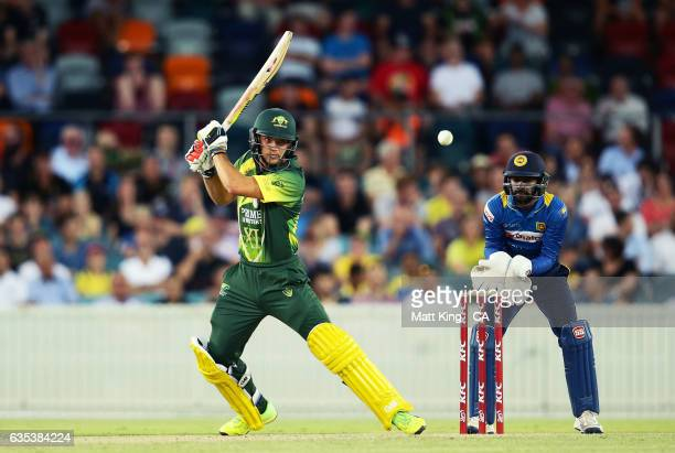 Alex Carey of the Australian PMXI bats during the T20 warm up match between the Australian PM's XI and Sri Lanka at Manuka Oval on February 15 2017...