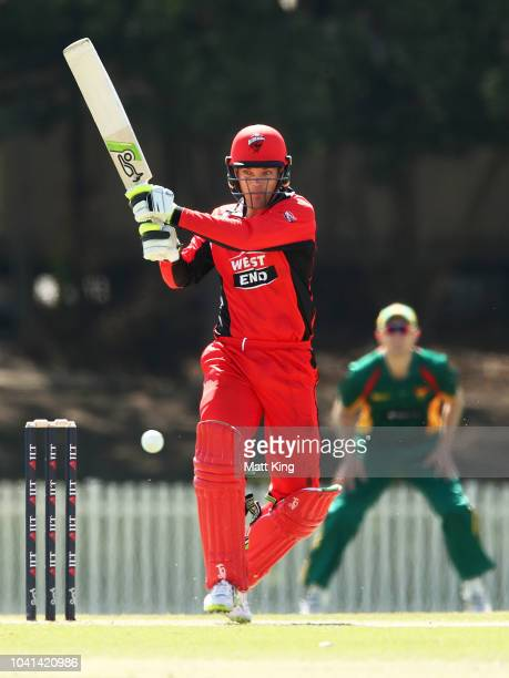 Alex Carey of the Redbacks bats during the JLT One Day Cup match between South Australia and Tasmania at Bankstown Oval on September 27 2018 in...