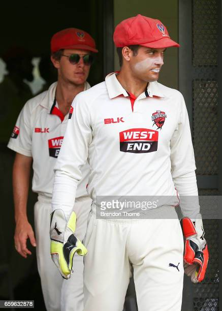 Alex Carey of the Redbacks leaves the dressing rooms during the Sheffield Shield final between Victoria and South Australia on March 29 2017 in Alice...