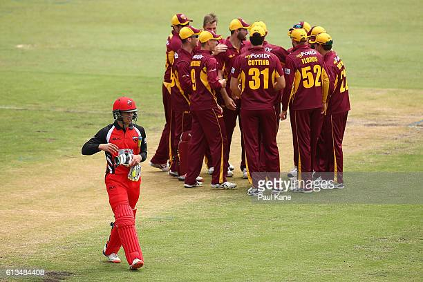 Alex Carey of the Redbacks walks back to the players pavilion after being dismissed by Mark Steketee of the Bulls during the Matador BBQs One Day Cup...