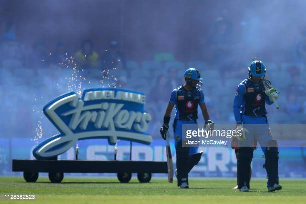Alex Carey of the Strikers and Jake Weatherald of the Strikers during the Adelaide Strikers v Perth Scorchers Big Bash League Match at Adelaide Oval...