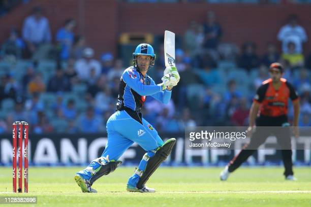Alex Carey of the Strikers bats during the Adelaide Strikers v Perth Scorchers Big Bash League Match at Adelaide Oval on February 09 2019 in Adelaide...