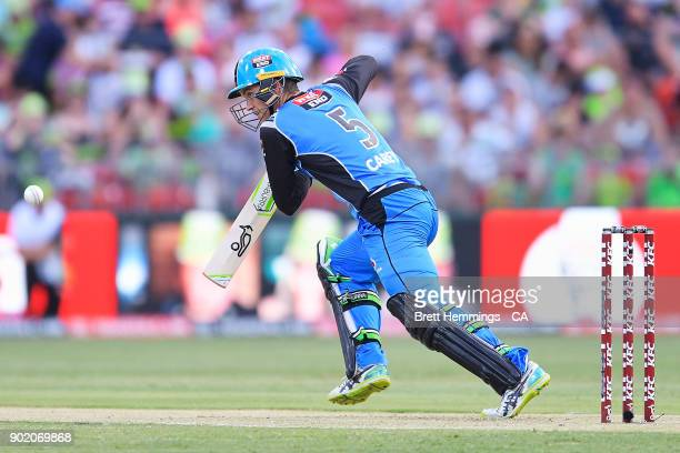 Alex Carey of the Strikers bats during the Big Bash League match between the Sydney Thunder and the Adelaide Strikers at Spotless Stadium on January...