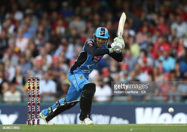 Alex Carey of the Strikers bats during the Big Bash League match between the Melbourne Renegades and the Adelaide Strikers at Etihad Stadium on...