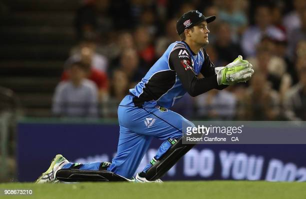 Alex Carey of the Strikers takes a catch to dismiss Tom Cooper of the Renegades during the Big Bash League match between the Melbourne Renegades and...