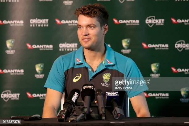 Alex Carey speaks to the media during a press conference at Quay West Hotel on February 13 2018 in Melbourne Australia
