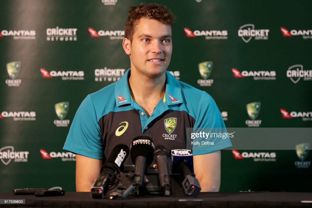 Alex Carey speaks to the media during a press conference at Quay West Hotel on February 13, 2018 in Melbourne, Australia.
