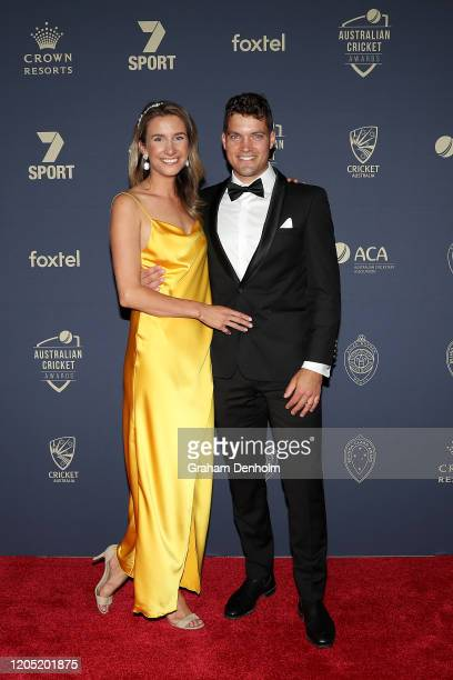 Alex Carey wife Eloise Carey arrive ahead of the 2020 Cricket Australia Awards at Crown Palladium on February 10 2020 in Melbourne Australia