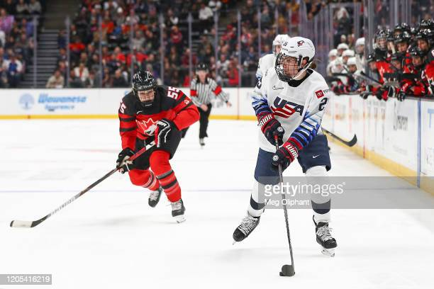 Alex Carpenter of the U.S. Women's Hockey Team handles the puck in the third period against the Canadian Women's National Team at Honda Center on...